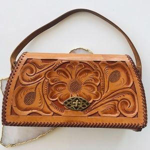 Vintage Hand Tooled Classic Leather Bag